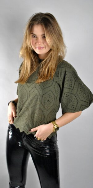 Neo Noir - Riko Embroidery Blouse Army