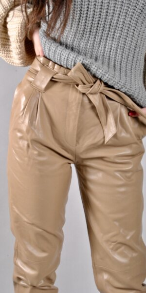 Just female - Sago leather trousers / Beige