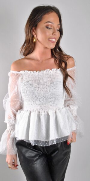 Angel - Lace top Off shoulder / white
