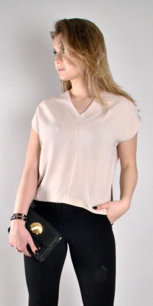 Ottod'Ame - T-SHIRT WITH SIDE SLITS / champagne ( DT-8807)