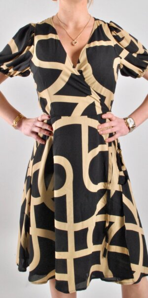 Just Female - Leyla Wrap Dress/Black&Beige
