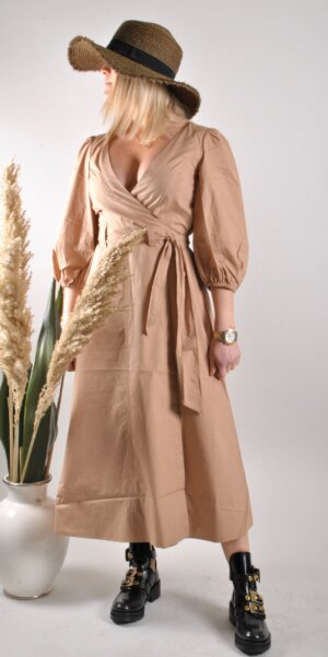 Second Female - Phoebe Wrap Midi Dress/Praline