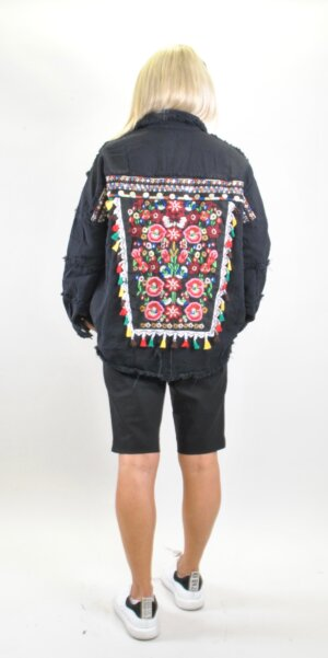 Angel Jacket – Flower Boho Print / Black