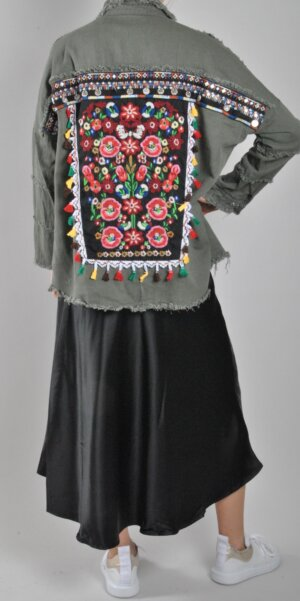 Angel Jacket - Flower Boho Print / Army Green3