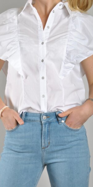 Co´couture - Bernadette ruffle top / white